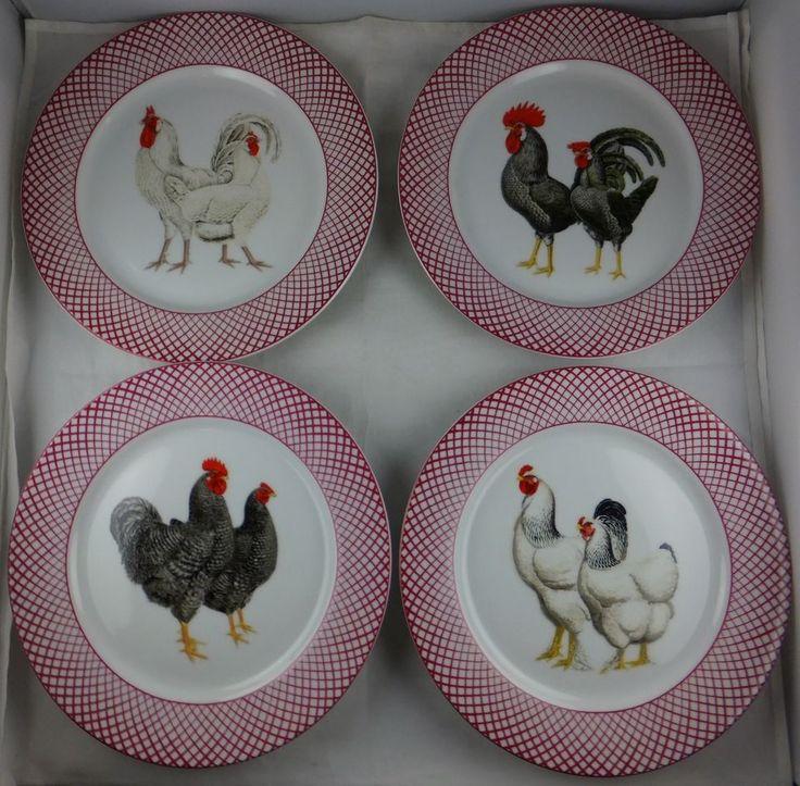 Four Assorted Haldon Group Devonshire Rooster Salad Plates   Red Trim  Excellent