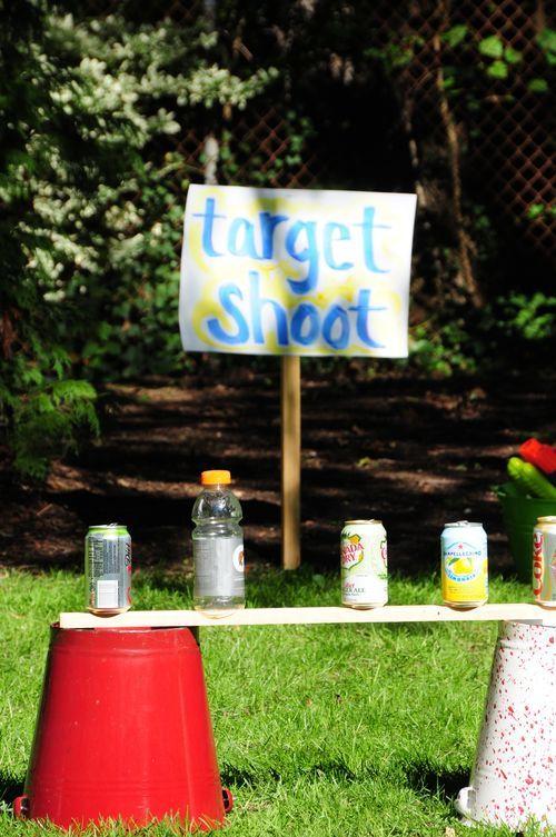 target shoot, rubber band gun, marshmallow or ping pong ball gun? Nerf gun maybe?
