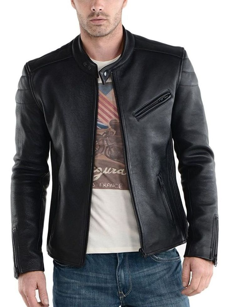Leather Mens Genuine Lambskin Bomber Biker Leather Jacket #LeatherCraze #Motorcycle