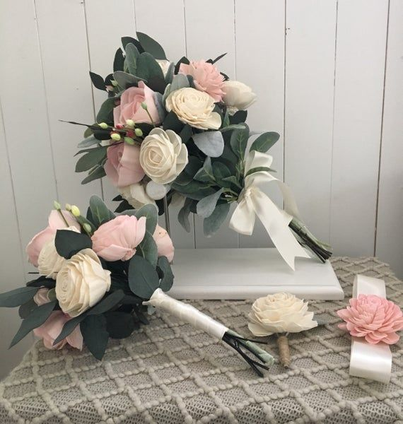 Wild Blush Collection Wood Flower Bouquet with Dried Eucalyptus