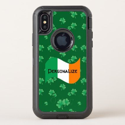 Irish Flag with Shamrocks Personalized OtterBox Defender iPhone X Case - st patricks day gifts Saint Patrick's Day Saint Patrick Ireland irish holiday party