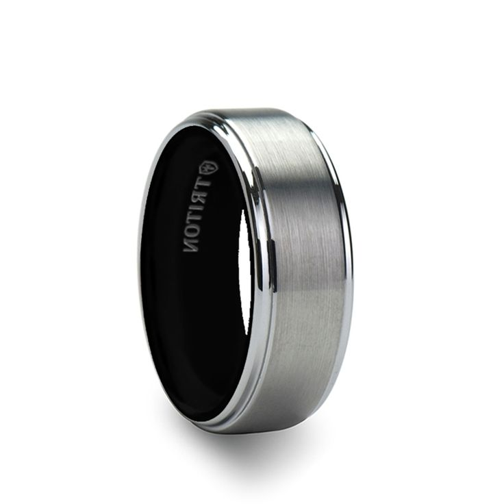 pin tungsten triton band rings wedding edge satin gresham carbide black bands finish by beveled