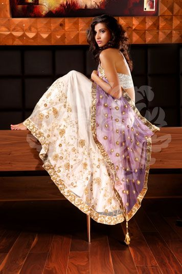 Pearly white, sheer purple and silver --monika nidhi - for more follow my Indian Fashion Boards :)