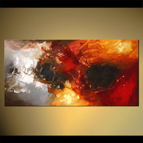 Modern contemporary abstract Painting Red Gray by OsnatFineArt