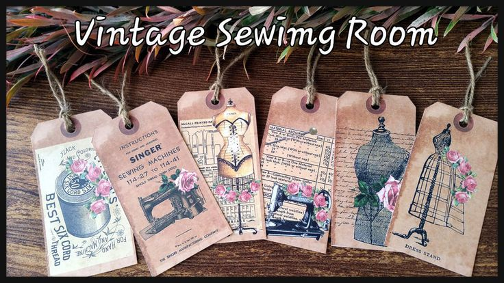 12xSewing Room Vintage paper ephemera,Scrapbook Card Making,Party Gift Favor Tag