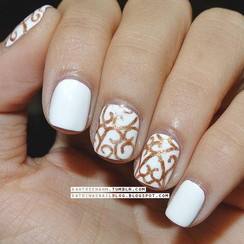 Formal Event Black And White Nail Art : Formal party or maybe even wedding nail art nails elegant