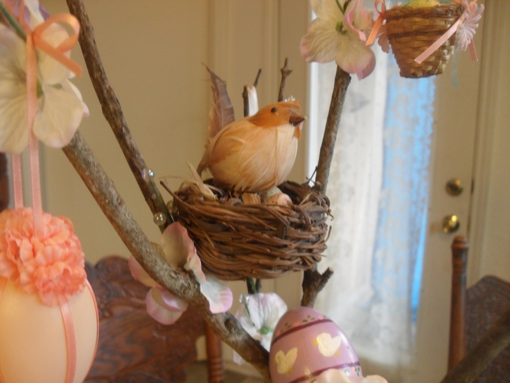 Easter Tree decorations: I've had this birds nest for a long time; it usually lives in a silk dogwood tree I have. You can find these complete with bird and eggs for sale in the craft stores these days, but I bought all the pieces separately & put them together - way back before they made them.