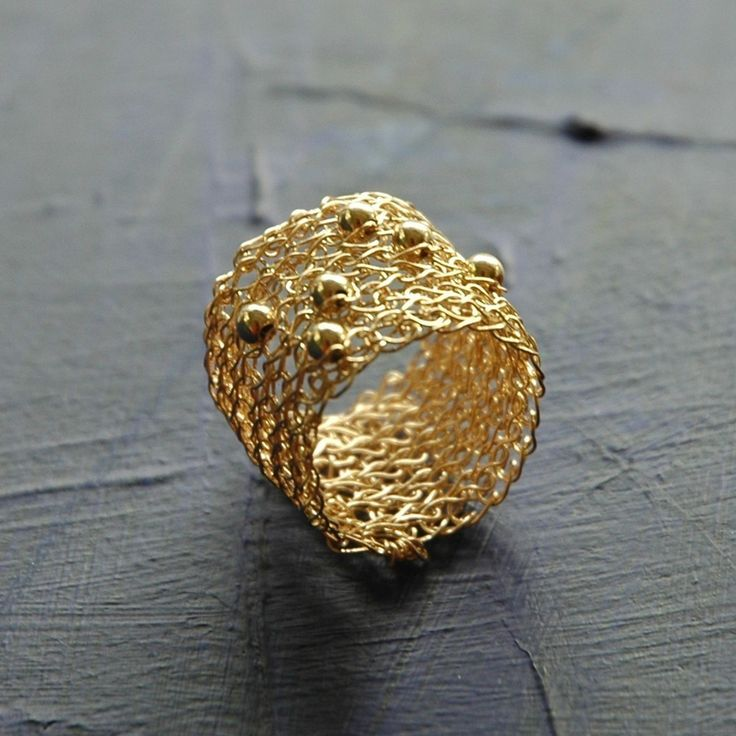 Wire crochet gold band ring sporadic gold filled beads by Yoola