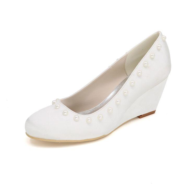 Закрыты носок клина на каблуках элегантный розовый жемчуг кнопка атласная платье обувь королевский синий фиолетовый красный шампанское белый кот клинья партия выпускного вечера(China (Mainland))