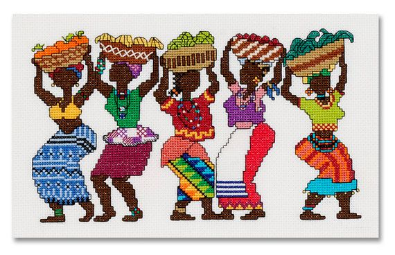 Five bright and vibrant African woman carrying fruit and vegetables in baskets on their heads. 13cm x 21cm (actual stitched area)  This chart is supplied in PDF format