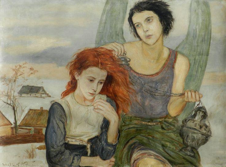 WLASTIMIL HOFMAN (1881 - 1970)  POD SKRZYDŁAMI ANIOŁA, 1922 - 1927   olej, tektura / 74,5 x 100,5 cm  sygn. l.d.: Wlastimil Hofman 1922