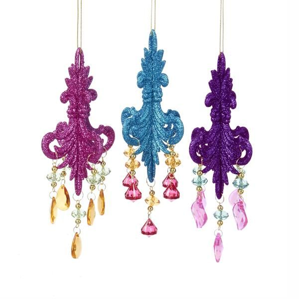 1 Set 3 Assorted Pink, Blue and Purple Chandelier Ornaments