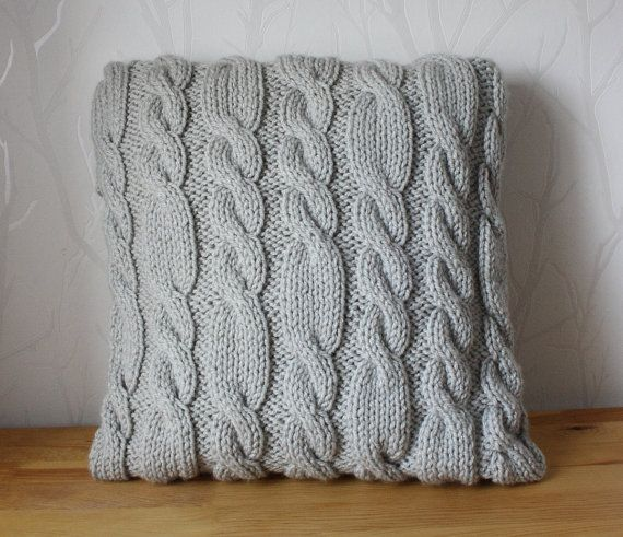 Cable pillow cover knit pillow cover decorative by CreamKnit