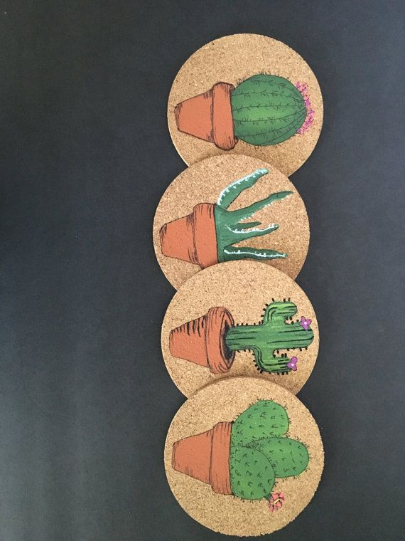 Cork Coasters Succulent Design Cactus Design by RevivifyShoppe
