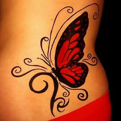 Simple Butterfly Tattoo Designs Red