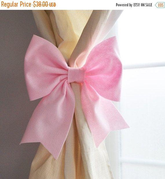 STARS and STRIPES SALE Curtain Tie Backs, Curtain Holdbacks, Light Pink Bow, Nursery Decor, Bedroom Decor, Window Treatments, Dorm Decor Set