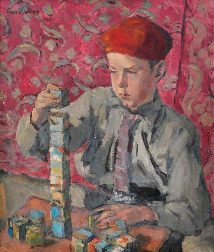 Boy Playing with Bricks by Evan Walters (Welsh 1893–1951)