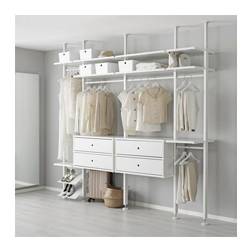 IKEA - ELVARLI, 4 sections, You can always adapt or complete this open storage solution as needed. Maybe the combination we've suggested is perfect for you, or you can easily create your own.You can combine open and closed storage - shelves for your favorite things and drawers for the things you want to store away.Adjustable shelves and clothes rails make it easy for you to customize the space according to your needs.You choose if you want to place the open storage solution against a wall or…