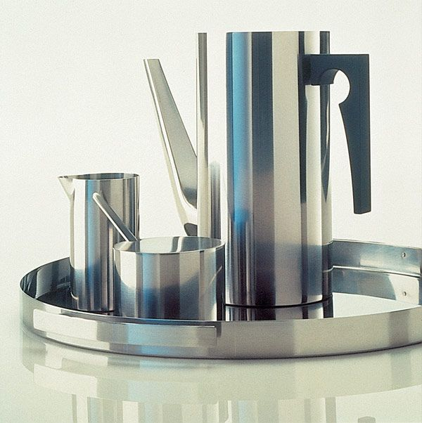 Cylinda-Line, a stainless steel service by Arne Jacobsen for Stelton, 1967, Denmark.