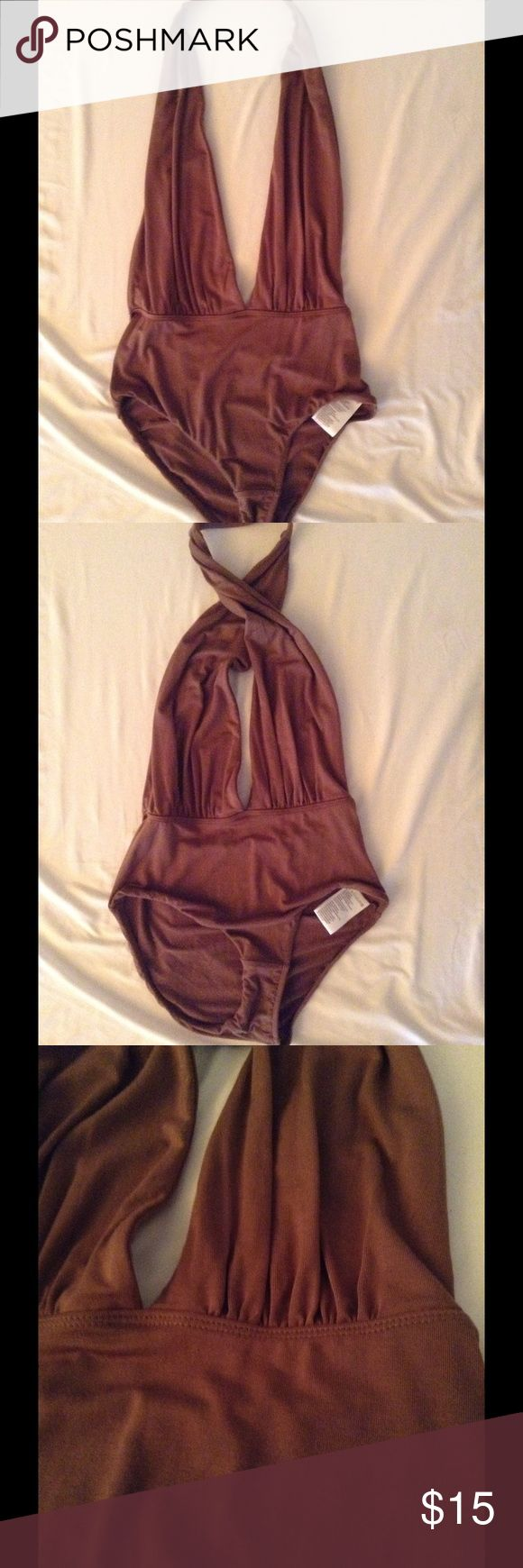 Brown halter bodysuit Very sexy Urban Outfitters Tops