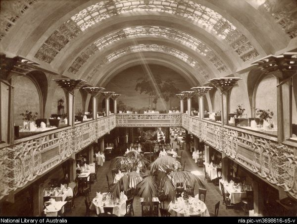 Interior view of the Banquet Hall with balcony and mural, Cafe Australia, Melbourne, 2