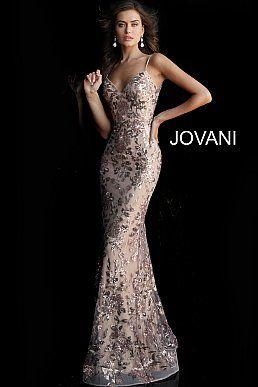 Abiti Da Sera Jovani.Rose Gold Plunging V Neck Sleeveless Sequin Jovani Dress 63439 Nel