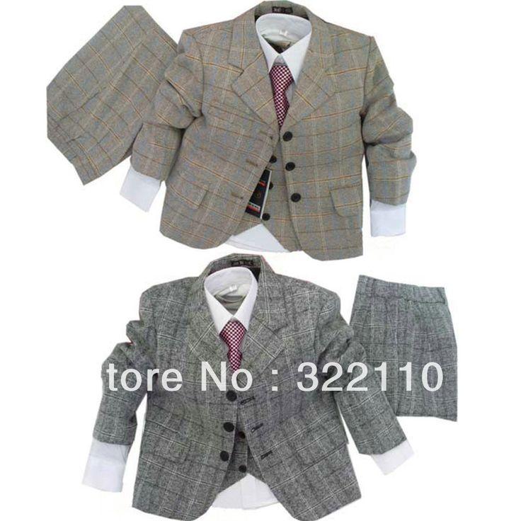 Boy suit Plaid wear 3 piece suit Jacket+Pants+Coat Kids suits Casual clothes Blazers Baby cloth Party dress $30.82 - 35.13