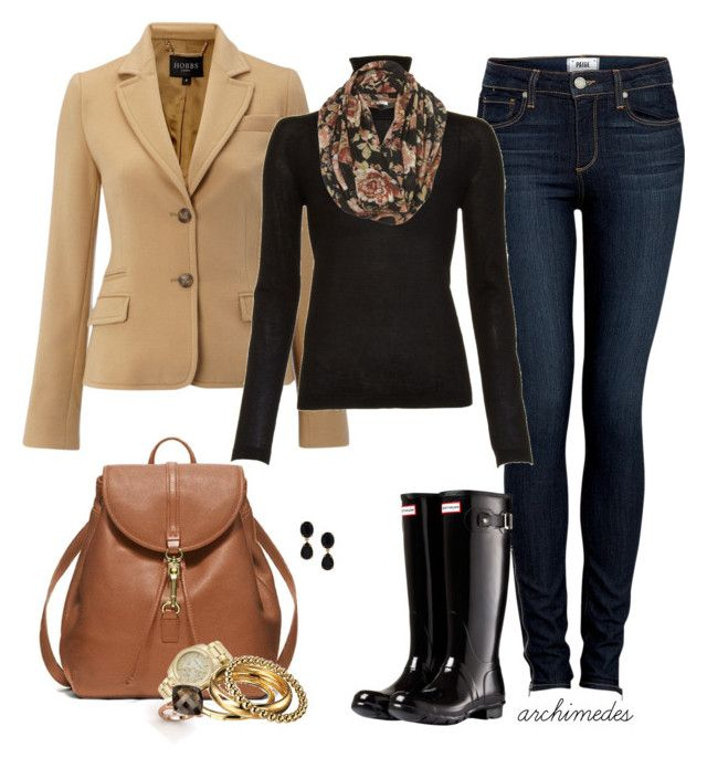 Wellingtons by archimedes16 on Polyvore featuring polyvore, fashion, style, Jil Sander, Hobbs, Paige Denim, Hunter, Coach, D&G, Gemvara, MICHAEL Michael Kors, Kate Spade, skinny jeans, backpacks, wellington boots, cocktail rings, blazers, big bangles, autumn, scarf prints, fall, gold watches, snoods and turtlenecks
