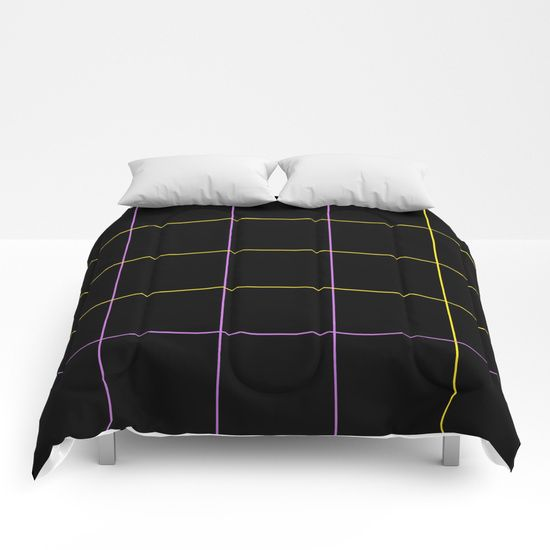 Grid Dimension Yellow and Purple Comforters