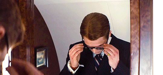 "Taron Egerton as Eggsy in Kingsman: The Secret Service... ""Sorry, love. Gotta save the world."" <3"