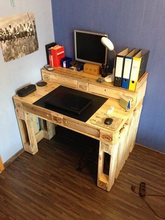 les 25 meilleures id es de la cat gorie bureau palette sur pinterest bureau rustique bureau d. Black Bedroom Furniture Sets. Home Design Ideas