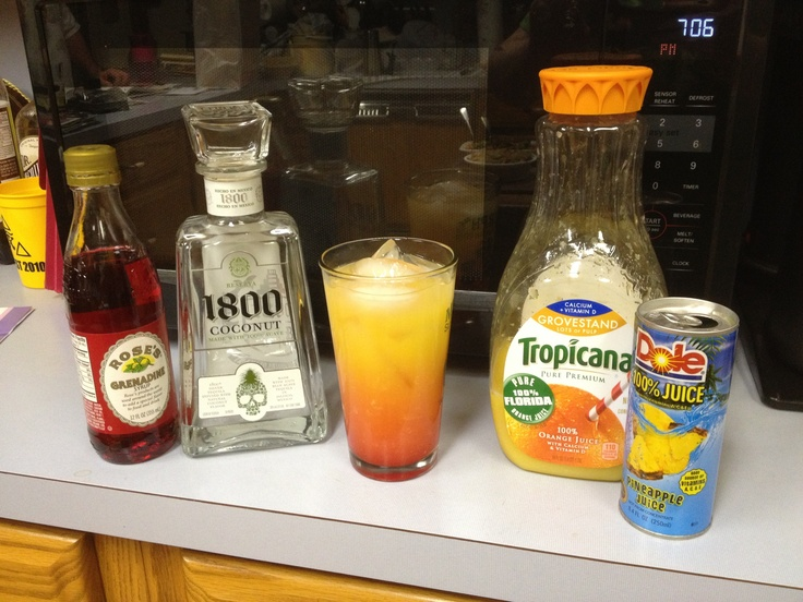 """Wake Up Bitch!!""  1800 Coconut Tequila, Grenadine, Pineapple Juice, Orange Juice"
