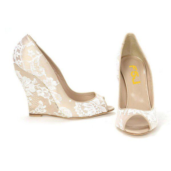 Women's Nude Peep Toe Wedding Shoes Lace Wedge Heel Pumps image 3