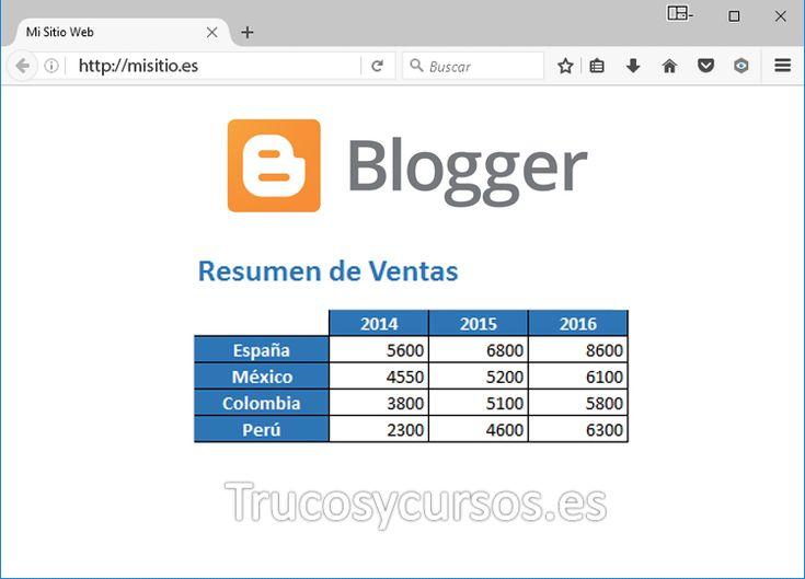 Incrustrar o Embeber un archivo Excel en una página web Blogger.