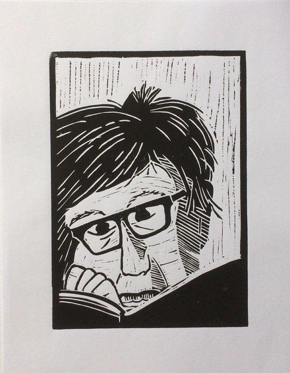 Linocut portrait 'Studying'  original print-limited by BonnysLoft