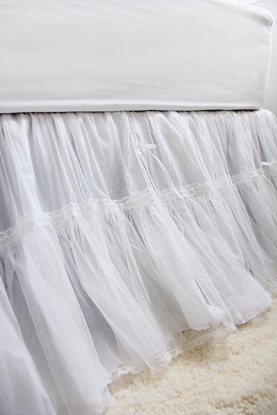 White Luxury Lace Ruffle Shabby Bridal Bed Skirt Split Corners