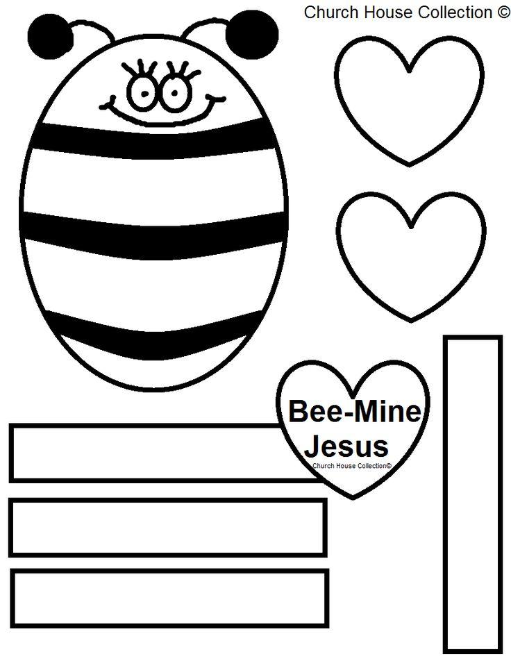 Bee mine jesus valentine bee template pattern cutout free valentines