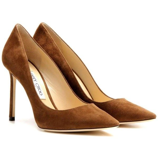 Jimmy Choo Romy 100 Suede Pumps ($375) ❤ liked on Polyvore featuring shoes,