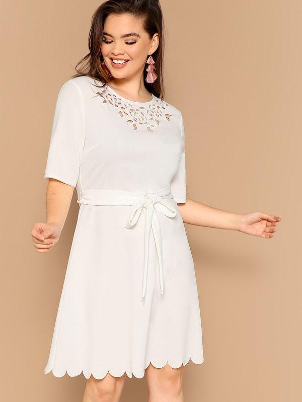 6c790bf400 Plus Laser Cut Neck Belted Scallop Trim Dress | SHEIN | Wishlist ...