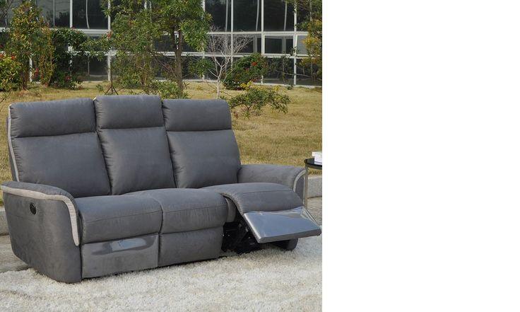 Canapé 3 places relax électrique gris en tissu OBAR