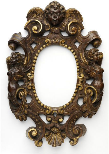 Carved and pierced oval frame, originally partially water gilded