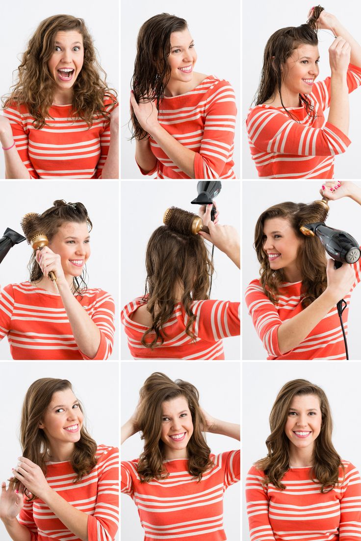 Tame those curls with a round brush and a blow dryer.