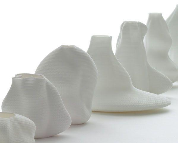 vase #44 François Brument  Vases created with voice/breath programme informatique brut / materialisation voix / Vibrationalysé / imprimante 3D / matériaux organique