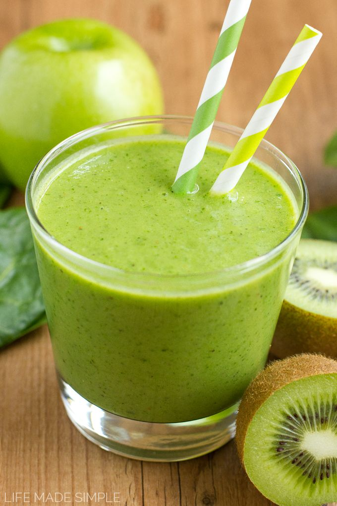 A combination of fruits and veggies give this fresh and healthy green smoothie its tropical taste!