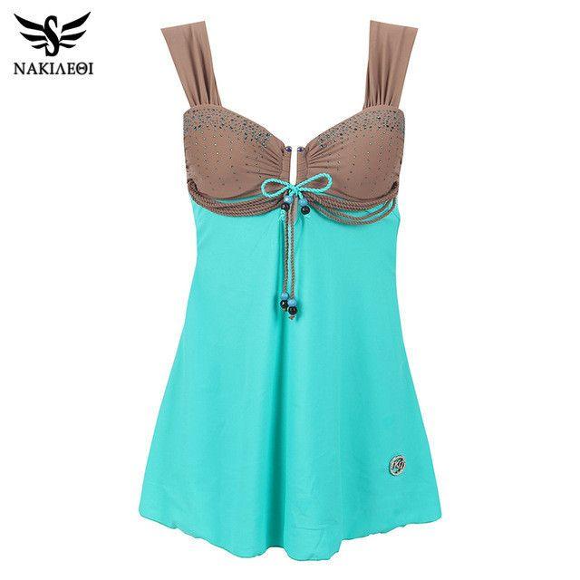 NAKIAEOI 2017 New Plus Size Swimwear Dress One Piece Swimsuit Large Size Retro Swimming Suit For Women Bathing Suits Swim Wear