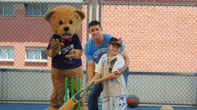 "Mr Cricket visits kids.  Aussie star Mike Hussey took a break from preparation for the Perth last week to visit Princess Margaret Children's Hospital.  PMH Foundation Ambassador Hussey teamed with the the Foundation's mascot Stitches the Bear.Ambassador in 2011 after a visit to the hospital,"" Ms Pearce said.  ""It's been wonderful to have him on board, it means a lot to have his support and he always makes time for us"""