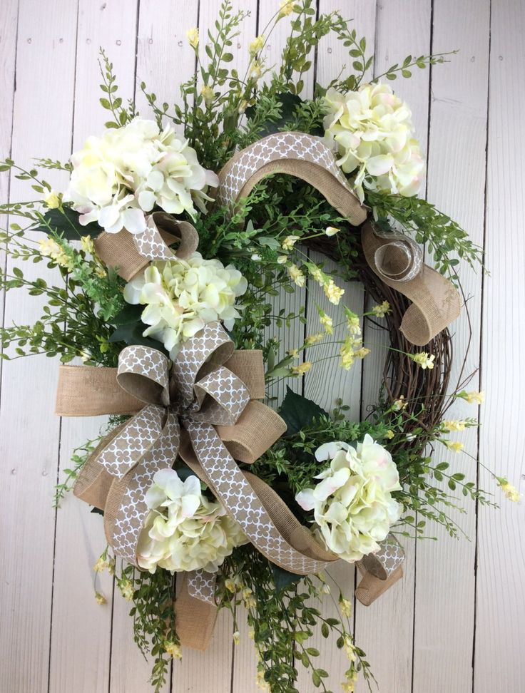 Front Door Wreath, White Hydrangea Wreath, Wedding Wreath, Summer Wreath, Summer Door Wreath, Summer Door Hanger, all season wreath, front door wreaths summer, double door wreaths, Mothers Day Wreath, Dimensions 32x22 and 8 Deep Made on 18 round grapevine wreath base. Paper wrapped metal