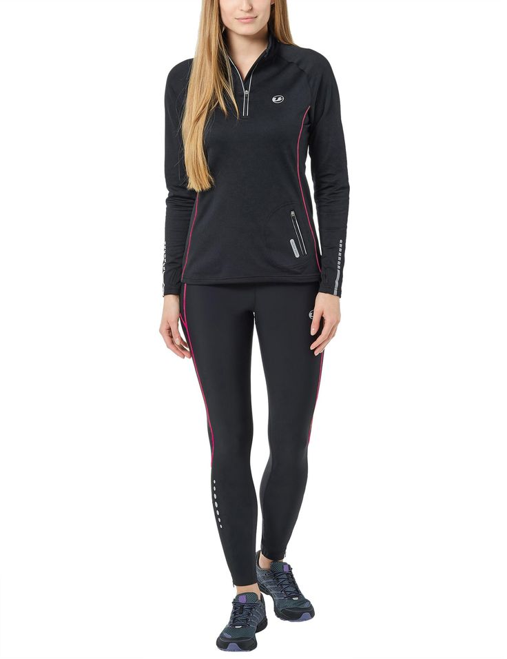 #Ultrasport #Damen #Laufhose lang, black purple,