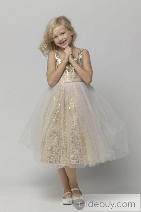 Más de 20 fotos de vestidos de fiesta para niña, Primavera-Verano: Dorado brillante
