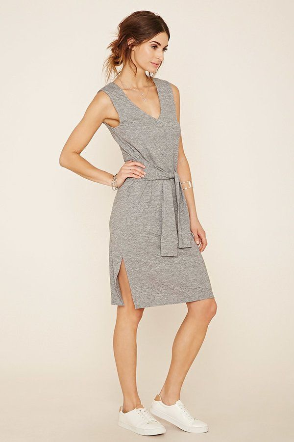Pin for Later: The Clothing Store You Loved as a Teen Actually Sells Affordable Work Staples, Too A Casual but Stylish Dress You Can Throw On and Go Forever 21 Contemporary Tie-Waist Marled Dress ($23)